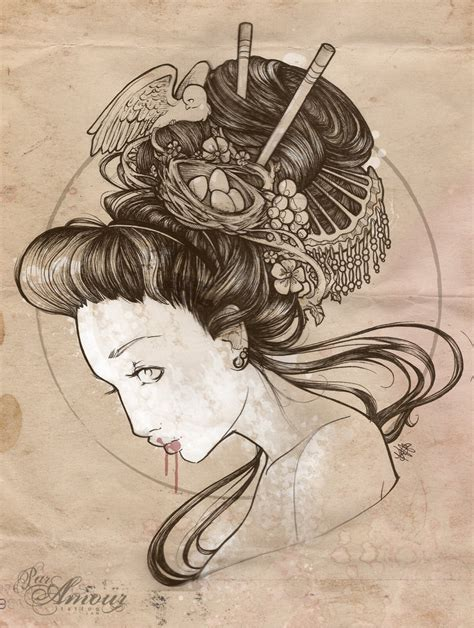awesome tattoo designs drawings cool zone japanese geisha designs gallery