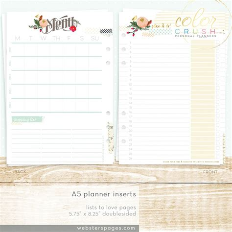 planner inserts to do lists for a5 planners printable websters pages color crush lists to love a5 planner inserts