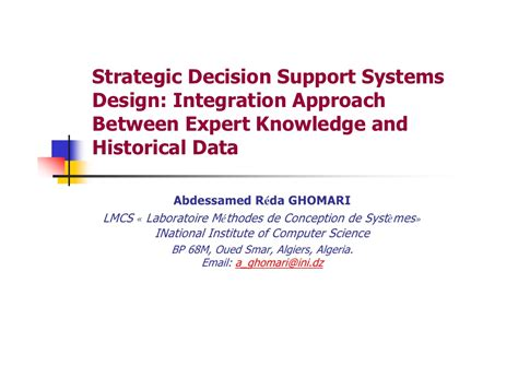 design is the intermediary between information and strategic decision support systems design integration