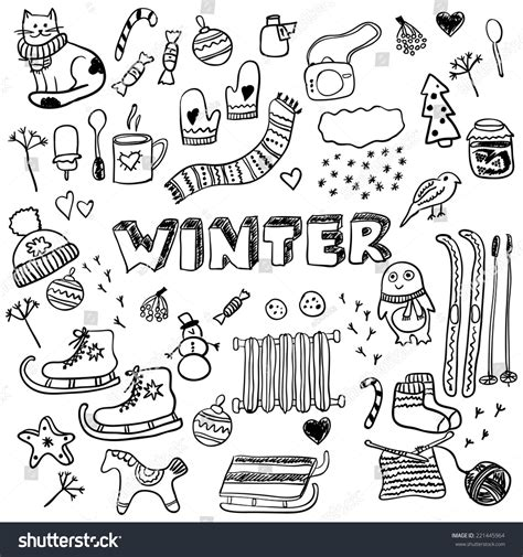 doodle with others winter doodles collection stylish design elements stock