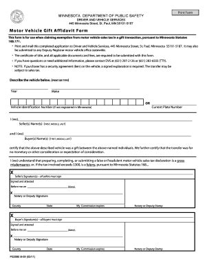 Gift Letter Affidavit Sle Bill Of Sale Form Minnesota Motor Vehicle Gift Affidavit Form Templates Fillable Printable