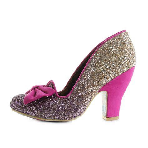 womens irregular choice nick of time pink gold high heel