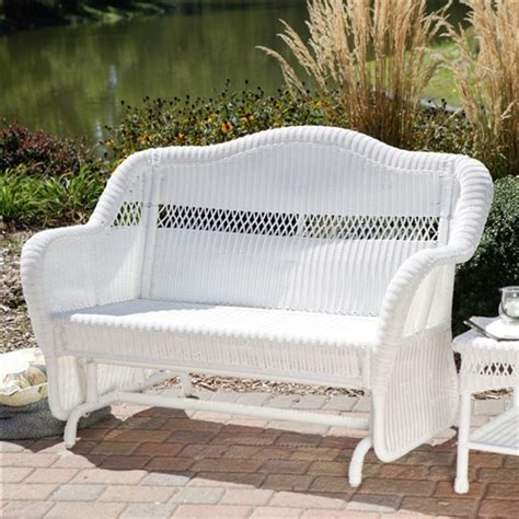 white resin wicker outdoor  seat loveseat glider bench