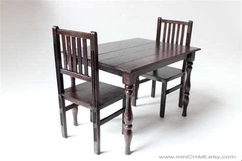 doll dining table miniature doll dining table and 2 chairs set in 1 6 scale