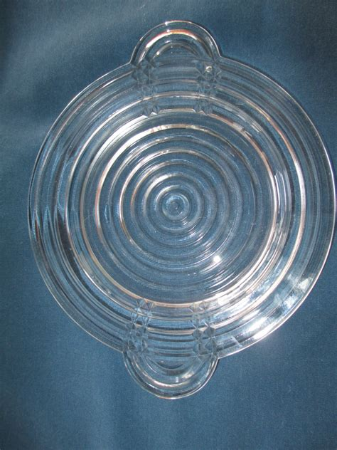 vintage manhattan clear glass plates with handles set of six