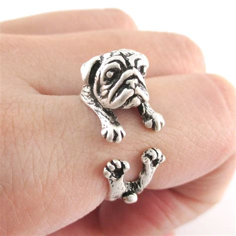 pug jewelry realistic pug puppy animal wrap ring in silver sizes 6 to 9 183 dotoly animal