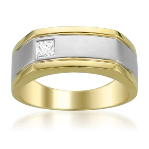 Two Tone Engagement Rings by 14k Two Tone Yellow Gold With Rhodium Princess Cut Diamond