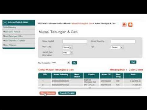 tutorial hack rekening bank cara mutasi rekening bni internet banking youtube
