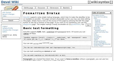 mediawiki layout exles template ach dokuwiki