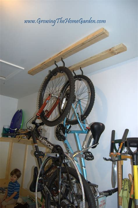 hang bike from ceiling a gardener s garage remodel growing the home garden