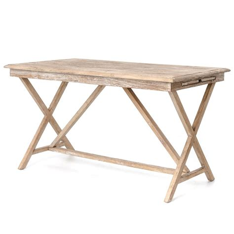 Cyril French Country Rustic White Wash Wood Desk Kathy White Country Desk