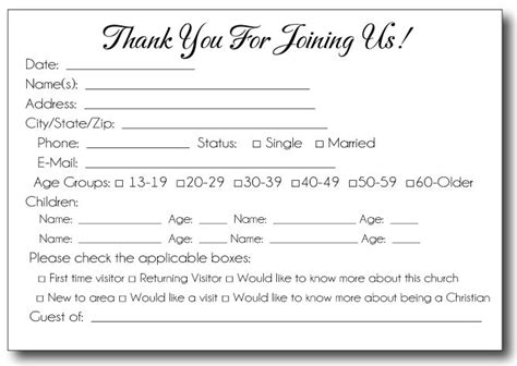 church member contact card template free printable pew cards search church items