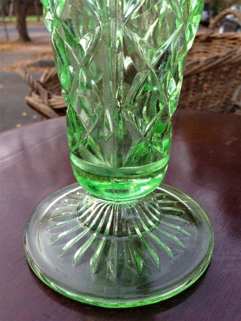 Green Depression Glass Vase by Gorgeous Australian C1930 S Green Depression Glass Vase