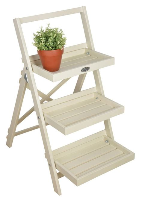 etagere vintage holz wooden plant stand 3 display shelves foldable pinewood