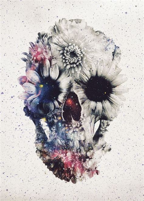 Flower Skull ali gulec floral skull 2 fleece throw blanket flower
