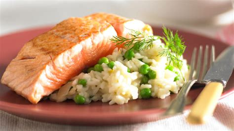 salmon and risotto pea and dill risotto with salmon recipe 9kitchen