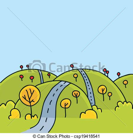 graphic design hill road hill road a cartoon road running over the hills in autumn