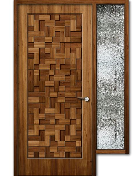 Wood Design by Teak Wood Finish Wooden Door With Window 8feet Height
