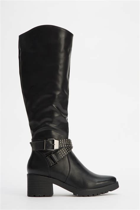 studded buckle knee high boots black just 163 5
