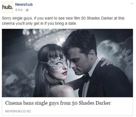 50 Shades Of Grey Meme - cinema bans single guys from 50 shades darker fifty