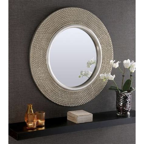 silver mirrors for bedroom rome large round silver stud framed wall mirror 31