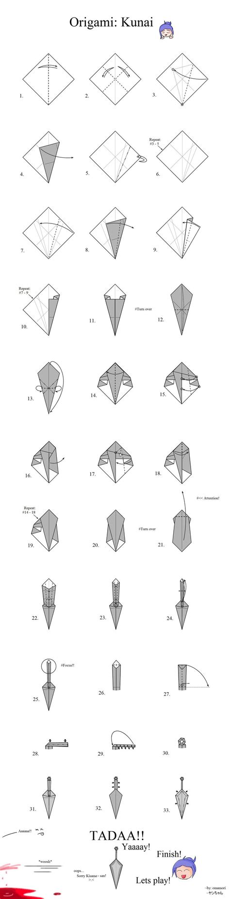 How To Make A Origami Sword Step By Step - tutorial origami kunai by mahou no omamori on deviantart