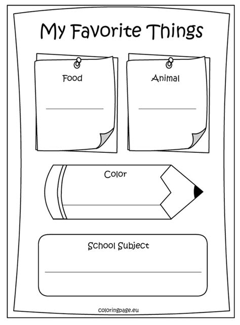 what does my favorite color tell about me memory book my favorite things coloring page school
