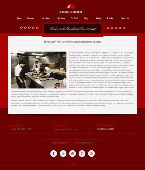 template joomla menu redbowl restaurant responsive joomla template by