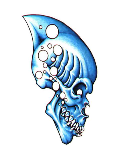 blue fin tattoo blue skull with fin free design ideas