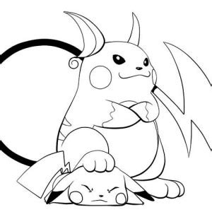 Raichu Is Lose To Pikachu Coloring Page sketch template