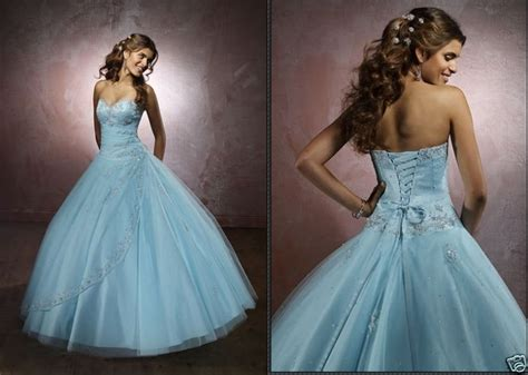 Wedding Dresses Designer Blue by Big Blue Wedding Dresses Design With Ribbon And Pearl