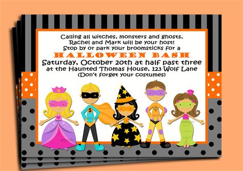 kids halloween birthday invitations halloween party invitations kids festival collections