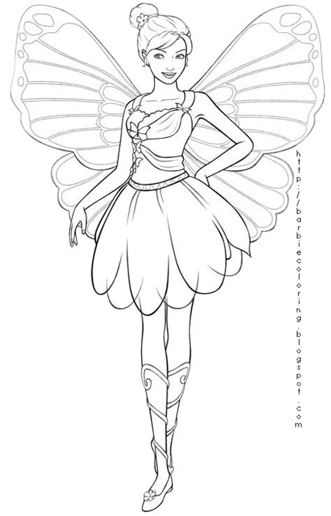 Barbie Mariposa And The Fairy Princess Coloring Page How To Draw A Detailed Archives PENCIL DRAWING