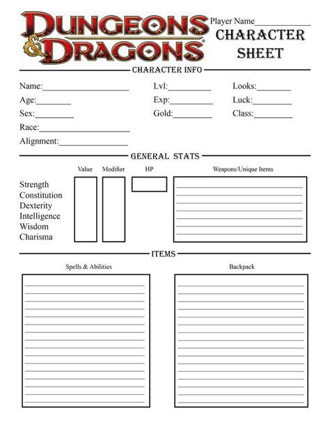 Printable D D Character Sheet
