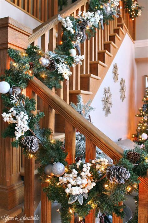best banister garlands for christmas how to hang a garland on the stairs clean and scentsible
