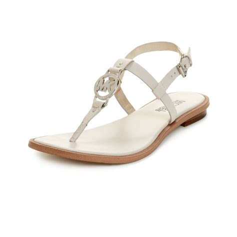 michael kors sandals macys michael kors flat sandals in white lyst