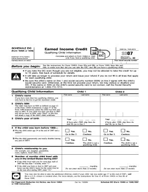printable schedule eic form 2007 eic schedule fill online printable fillable