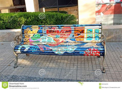 art work bench painted bench editorial stock image image of artists