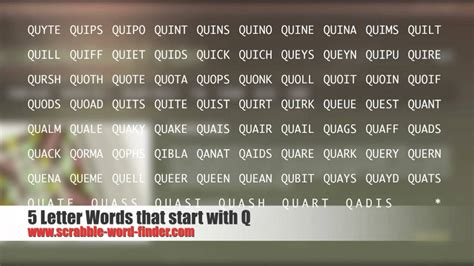 6 letter words starting with a 5 letter words that start with q 1056