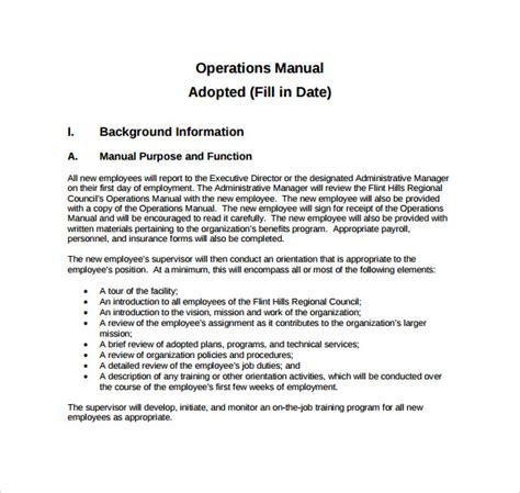 operations manual template 11 free sles exles