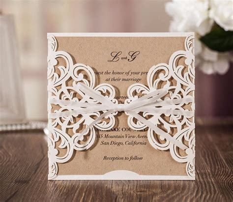rustic theme laser cut wedding invitation cards birthday engagement invitations card