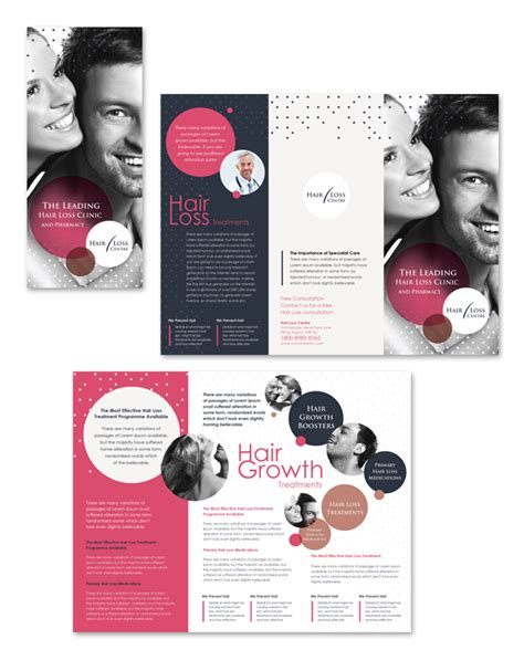Hair Loss Treatment Centre Tri Fold Brochure Template Dlayoutsblog Hair Design Templates