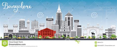 Vidhana Soudha Outline by Bangalore Skyline With Gray Buildings And Blue Sky Stock Vector Image 69644751