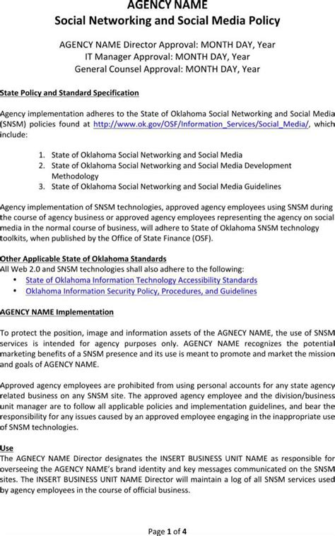 employee social media policy template agency social media policy template for free