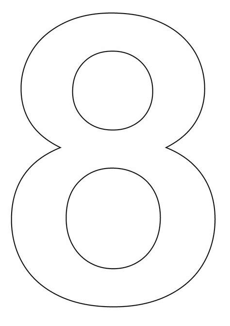 printable hollow numbers 7 best images of printable number 8 outline large
