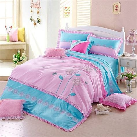 girls pink comforter set pink girls embroidery floral duvet cover set blue child