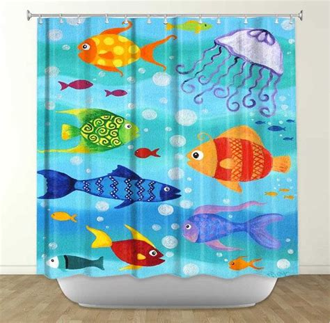 Shower Curtains With Fish Theme Happy Fish Tropical Fish Painting 16x20 Whimsical Fish Bed And Bath Decor Bathrooms