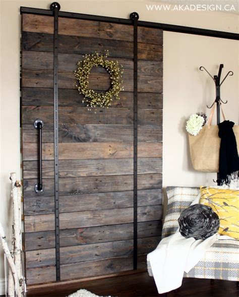 Diy Barn Doors White Diy Pallet Sliding Barn Door And Diy Track Feature From Aka Design Diy