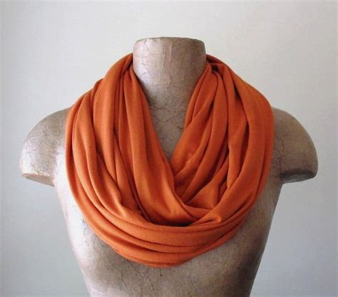 burnt orange infinity scarf handmade pumpkin circle by ecoshag