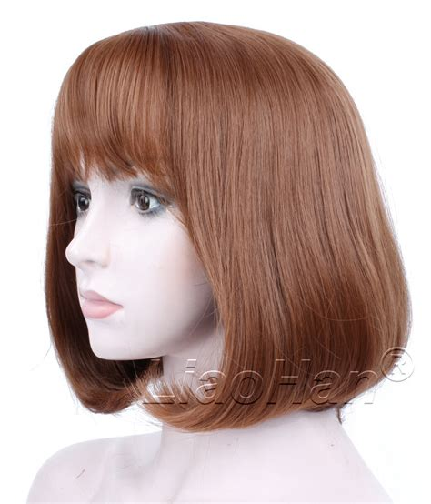short bob with fring pieces fashion brown short wig short brown bob wig with fringe